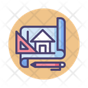 Architecture Home Plan Blueprint Icon