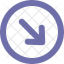 Arrow Down Right Round Icon