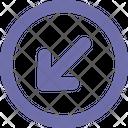 Arrow Down Left Round Icon