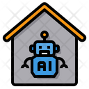 Artificial Intelligence Robot Home Office Icon
