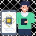 Mobile Microchip Artificial Mobile Ai Phone Icon