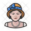 Asian Woman Cloche Hat Icon