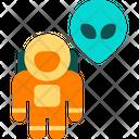Astronaut And Alien Icon