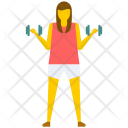 Athletic Girl Dumbbells Icon
