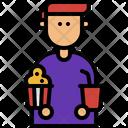 Moviegoer And Drink Popcorn Soda Icon
