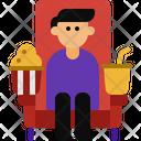 Popcorn And Moviegoer Cold Drink Moviegoer Icon