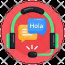 Language Learning Headphones Audio Translation Audio Interpreter Icon