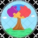 Puzzle Tree Autism Awareness Tree Autism Tree Icon