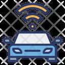 Autonomous Car Wireless Signal Automation Icon