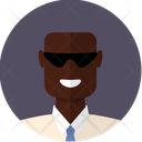 Black bald man with sunglasses Icon
