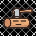 Axe Cutting Wood Hatchet Icon
