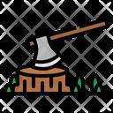 Axe Log Camping Icon