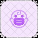 Baby Amazed Emoji With Face Mask Emoji Icon