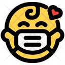 Baby Love Emoji With Face Mask Emoji Icon