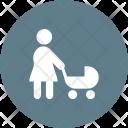 Walking Baby Stroller Icon