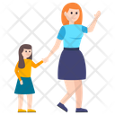 Baby Walk Mother With Daughter Mother Love Icon