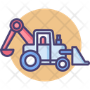 Backhoe Loader Bulldozer Construction Icon