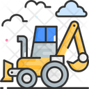 Backhoe Loader Bulldozer Excavator Icon