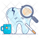 Unhealthy Lifestyle Bad Habits Tooth Inspection Icon