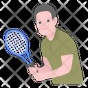 Sports Man Badminton Athlete Icon