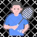 Sports Man Badminton Player Athlete Icon