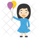 Balloon Girl Cartoon Icon