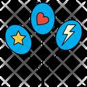 Balloons Stars Heart Icon