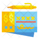 Bank Check Pen Currency Icon