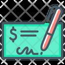 Bank Check Check Pen Icon