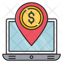 Location Laptop Dollar Icon