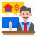 Bank Manager Businessman Home Icon