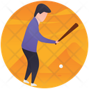 Baseball Player Kid Playing Playing Game Icon
