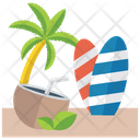 Beach Vacation Tropical Area Icon