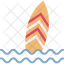 Beach Surfboard Sun Icon