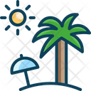 Beach Umbrella Sun Icon