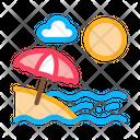 Beach Umbrellas Landscape Icon