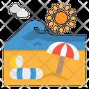 Beach Island Sun Icon