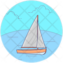 Beach Boat Canoeing Rafting Icon