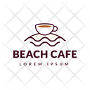 Beach Cafe Hot Coffee Cafe Logomark Icon