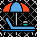Beach Bench Umbrella Icon