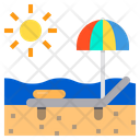 Beach Bed Sunset Vacation Icon