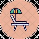 Beach Deck Chair Sun Tanning Icon