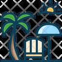 Beach Resort Beach Restaurant Coccnut Tree Icon