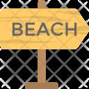 Beach Signboard Signpost Icon