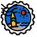 Beach Stamp Icon
