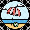Beach Umbrella Sunshade Rain Protection Icon