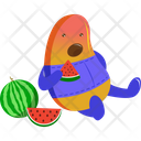 Bean Eating Watermelon Icon