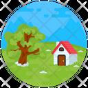 Beautiful Farmhouse Hut Nature Icon