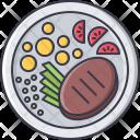 Beefsteak Meat Potato Icon