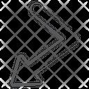 Bend Down Arrow Indication Arrow Flexible Turn Arrow Icon